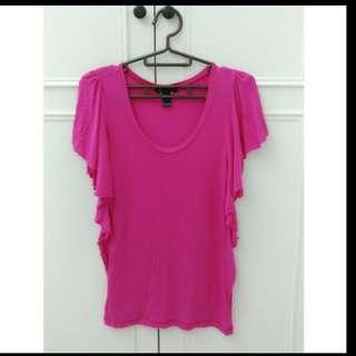 🚚 專櫃 MNG 桃紅色荷葉袖設計舒適上衣#女裝半價拉