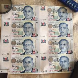 Singapore Portrait $50 special YY Prefix 8 pc uncut notes