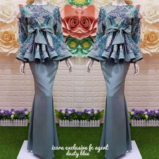 🌹Izara exclusive🌹  🎈Material :lace organza +moss crepe with ribbon  🎈Boleh tanggal  🎈zip belakang baju 🎈organza with lace 🎈free belt  🎈full lining  Available in 4 sizes : S,M,L,XL
