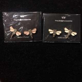 韓國閃鑽閃石蜻蜓耳環 Earrings 包平郵 特價$30/對 $50/2對 原價$50/對