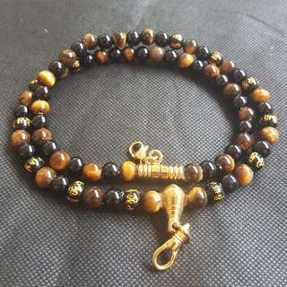 Sold - Good Quality & Nice Black Onyx, Tiger Eye, Om Mani Padme Hum Beads, 2 Hooks Necklace