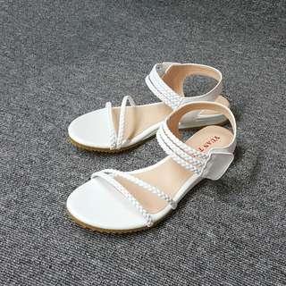 🚚 素面編織質感細繩平底羅馬涼鞋(三色)
