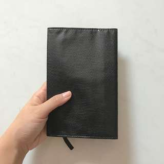 Daiso book cover black leather