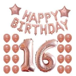 Rose Gold 16th Birthday Balloon Set