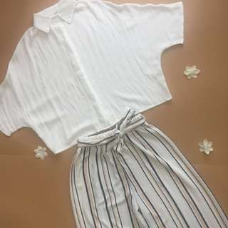 [Set] White Cropped Top with Printed Palazzo