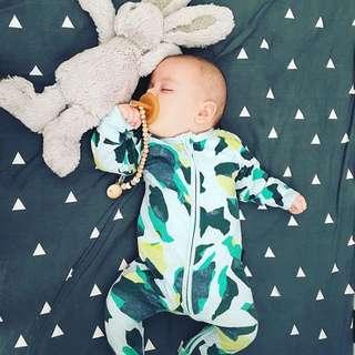 🌟INSTOCK🌟 Abstract Navy Mint Green Zipper PJ Pajama Sleeping Romper Pants Newborn Baby Toddler Boy and Girl Children Kids Clothing