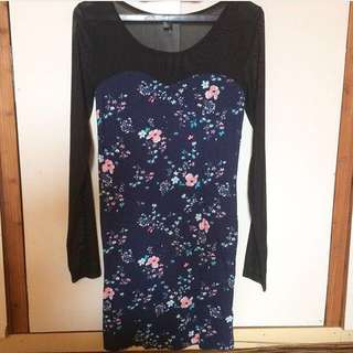 FOREVER21 Sheer Floral Bodycon Dress