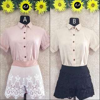 🌻Dotted Polo and Lace Shorts Coordinates