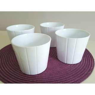 Set of 4 Small Clay Pots