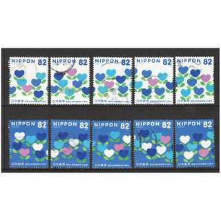 JAPAN 2016 100TH ANNIV. OF POSTAL LIFE INSURANCE COMP. SET OF 10 STAMPS IN FINE USED CONDITION
