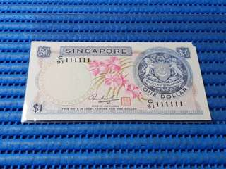 111111 Singapore Orchid Series $1 Note C/91 111111 Golden Number Dollar Banknote Currency HSS