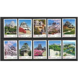 JAPAN 2016 JAPANESE CASTLE SERIES NO. 6 COMP. SET OF 10 STAMPS IN FINE USED CONDITION