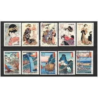 JAPAN 2016 UKIYOE ANCIENT PAINTINGS SERIES 4 COMP. SET OF 10 STAMPS IN FINE USED CONDITION