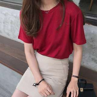 韓版復古紅短袖T恤