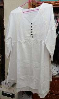 🚚 ob 棉麻 簡約 短袖洋裝 白色