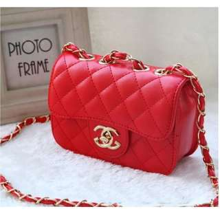 Fashion Adorable Chain Sling Bag for Kids Girls Red