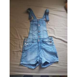 h&m short denim overalls