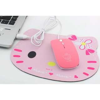 HELLO KITTY可愛有線靜音滑鼠(粉)