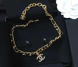 Chanel 黑金皮頸鏈手鍊