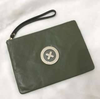 MIMCO khaki & gold medium pouch new
