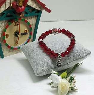 Siam Red Czech Beads Bracelet