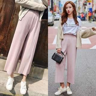 Pink Culottes Pleated Pants stylish pretty long chiffon #ramadan50