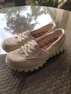 Skechers off white memory foam shoes