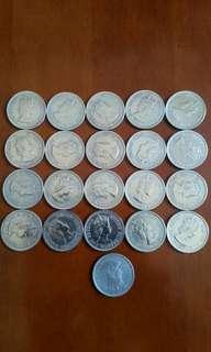包真:香港硬幣:女王頭:大1元:全部1960年/共20個