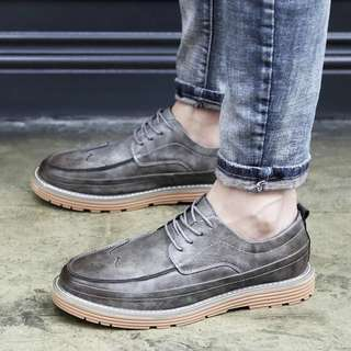 Men's Korean Style Leather Lace Up Sneakers Shoes