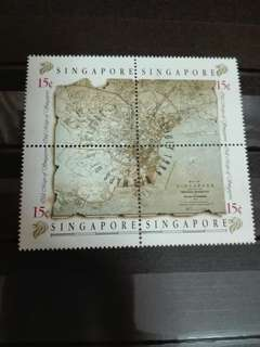Singapore Stamps Old Maps block of 4 1989