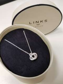 Links of London Love Knot and  White Topaz Necklace Sterling Silver