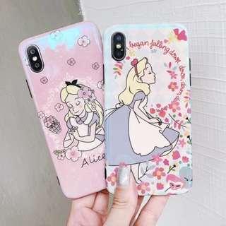 手機殼IPhone6/7/8/plus/X : 花朵愛麗絲藍光全包黑邊軟殼