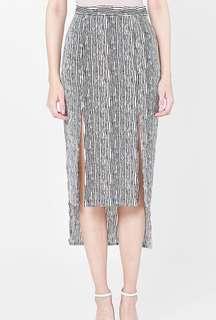 Brooke Slit Skirt in Stripes
