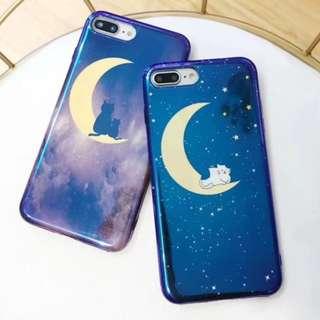 手機殼IPhone6/7/8/plus/X : 星空月亮貓藍光全包黑邊軟殼