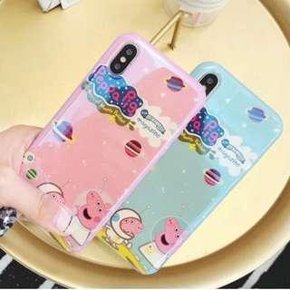 手機殼IPhone6/7/8/plus/X : 宇航員小豬藍光全包黑邊軟殼