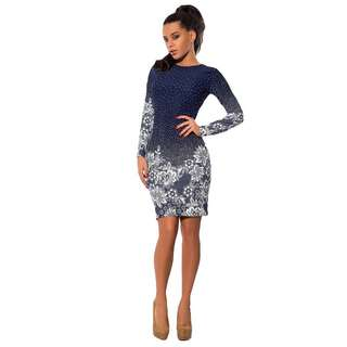 Long Sleeves Floral Bodycon Dress