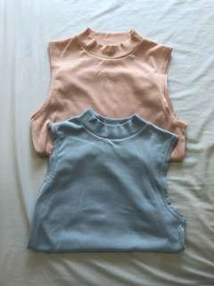 Blue & Pink Ribbed Top