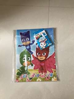 Free Postage-BN PJ Masks Colouring Books with Crayons