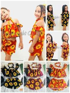 Sharlene Sunflower Terno w/ Turban P170 Only  Fit 3to5 y/o