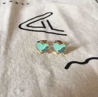 (全新) Agnes b Heart & b logo Earrings 粉色心心耳環