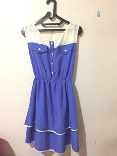 White-Blue Casual Dress
