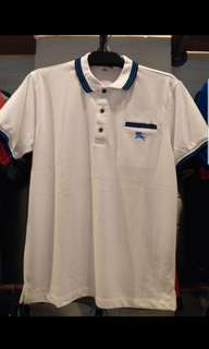 Brand new with tag burberry polo tee with stripe at collars