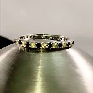 Full Eternity Black and Yellow Sapphires Ring