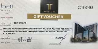 Bai hotel voucher - deluxe room for 2 with breakfast