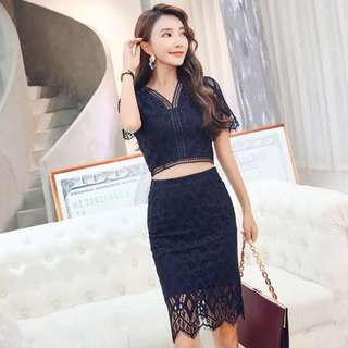 Crotchet Lace V Neck Crop Top High Waist Bodycon Skirt 2 Piece Set