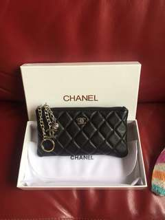 Brand New Chanel Large Genuine Lambskin O Case Key Card Phone Pouch Bag