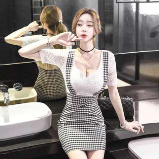 Fake 2 Piece Lace V Neck Short Sleeve Checked Suspender Bodycon Dress