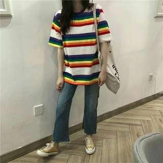 PO: Rainbow Striped Oversized Tee