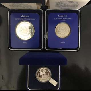 3 Pcs Lot Malaysia 🇲🇾 Commemorative Coins! 3 Pcs Lot Malaysia Proof Coins, 1982 RM25, 1989 RM15 & 1982 RM1 Commemorative Proof Coin. 3 Pcs Lot To Go At $150, All With Box & Cert