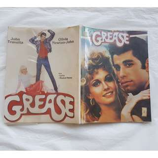 Rare Old Musical Book, Grease the Movie 1978, John Travolta and Olivia Newton John, Songs, Lyrics, Musical Notes, For Collector, a Classic